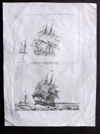 Anon C1800 Antique Ship Print. A Man of War in Full Sail